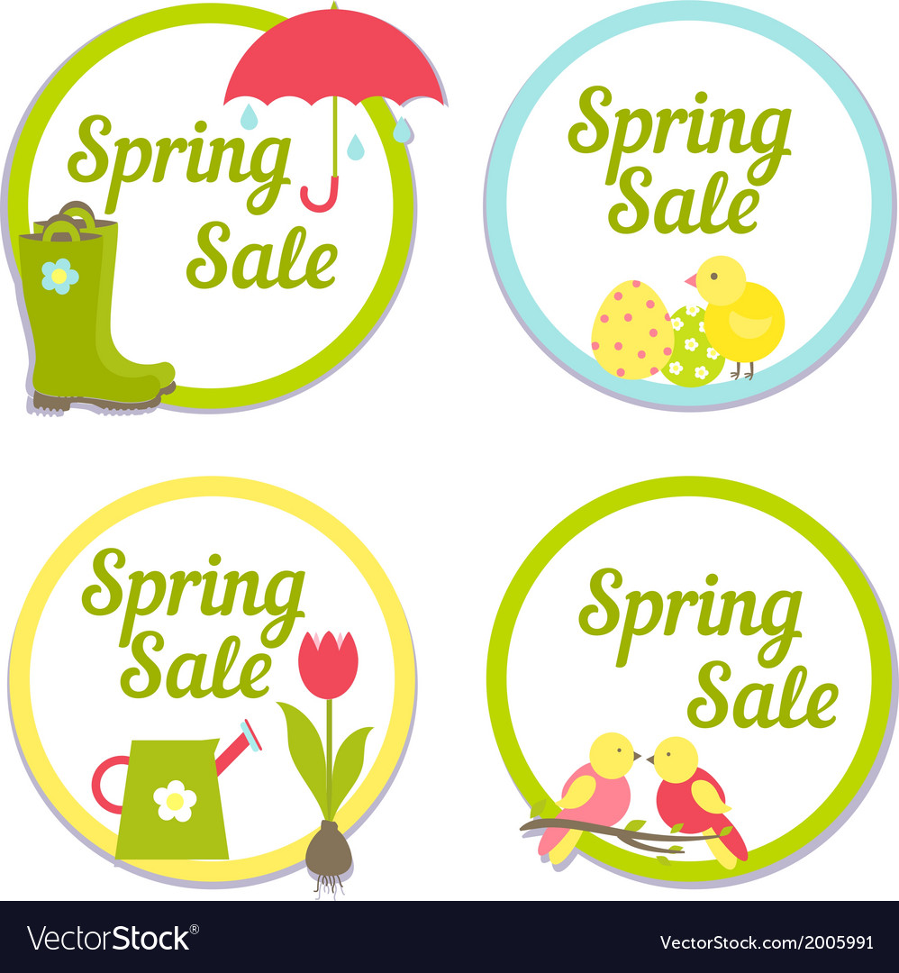Set of four circular spring sale labels vector | Price: 1 Credit (USD $1)