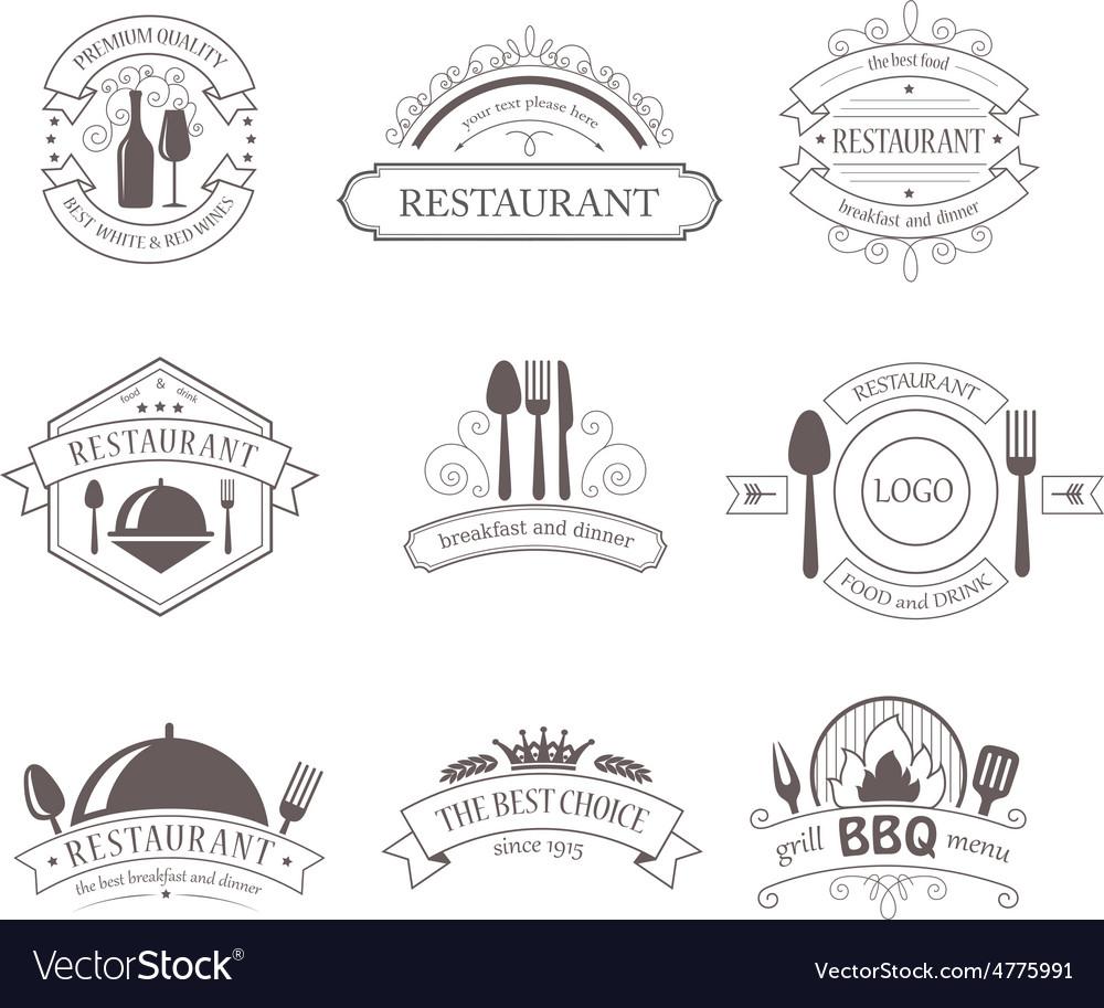Set of vintage decorations labels vector   Price: 1 Credit (USD $1)