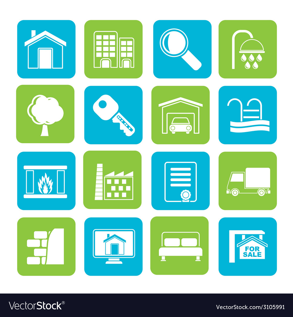 Silhouette real estate icons vector | Price: 1 Credit (USD $1)