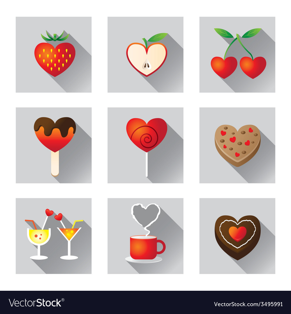 Sweet fruit and bakery love objects and icons vector | Price: 1 Credit (USD $1)