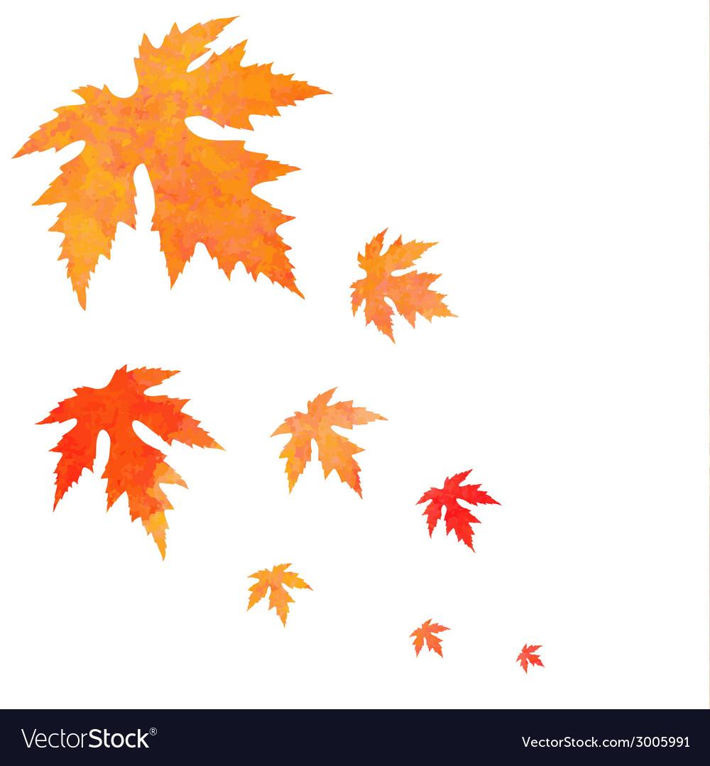 Watercolor painted orange leaves fall vector | Price: 1 Credit (USD $1)