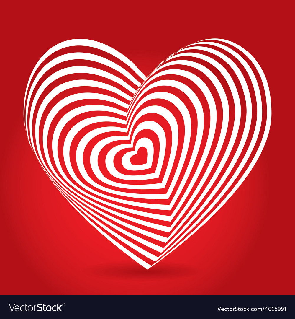 White heart on red background optical of 3d vector | Price: 1 Credit (USD $1)