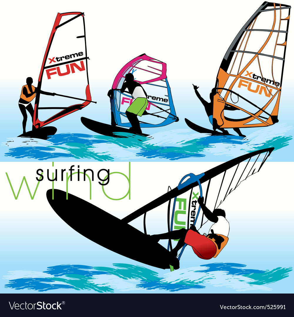 Windsurf set vector | Price: 1 Credit (USD $1)