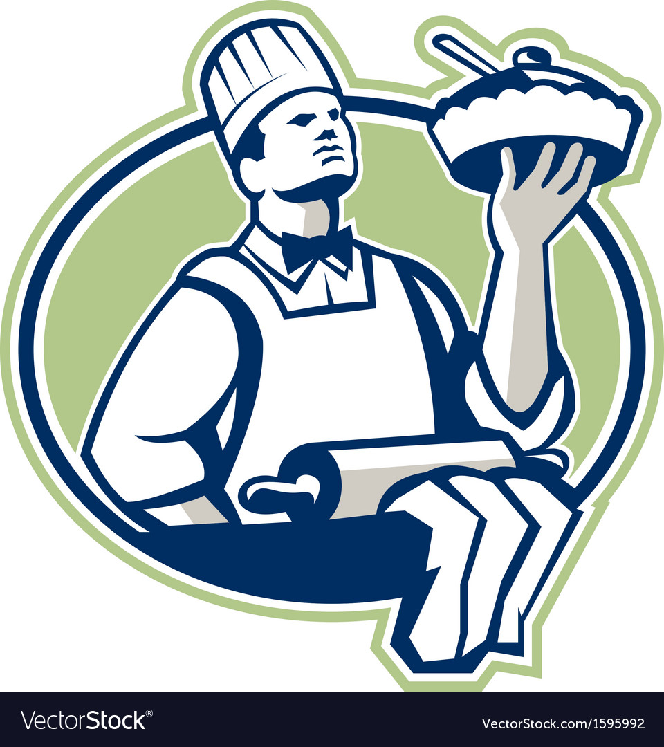 Baker chef cook serving pie retro vector | Price: 1 Credit (USD $1)