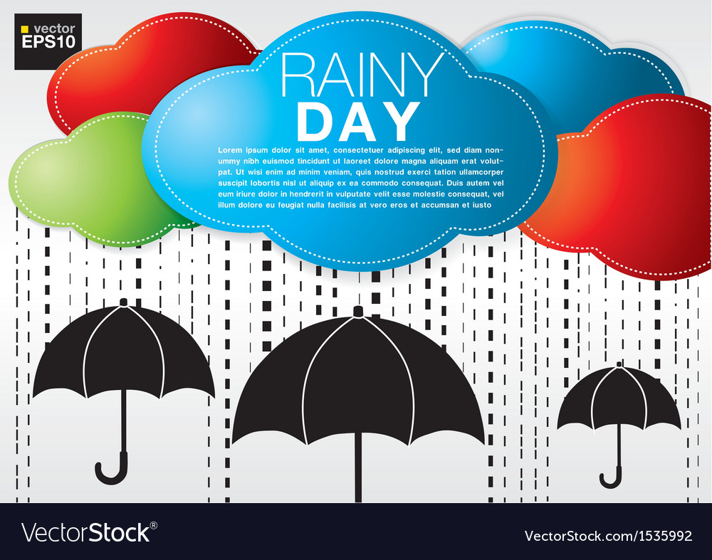 Colorful cloud with rain on black umbrellas vector | Price: 1 Credit (USD $1)