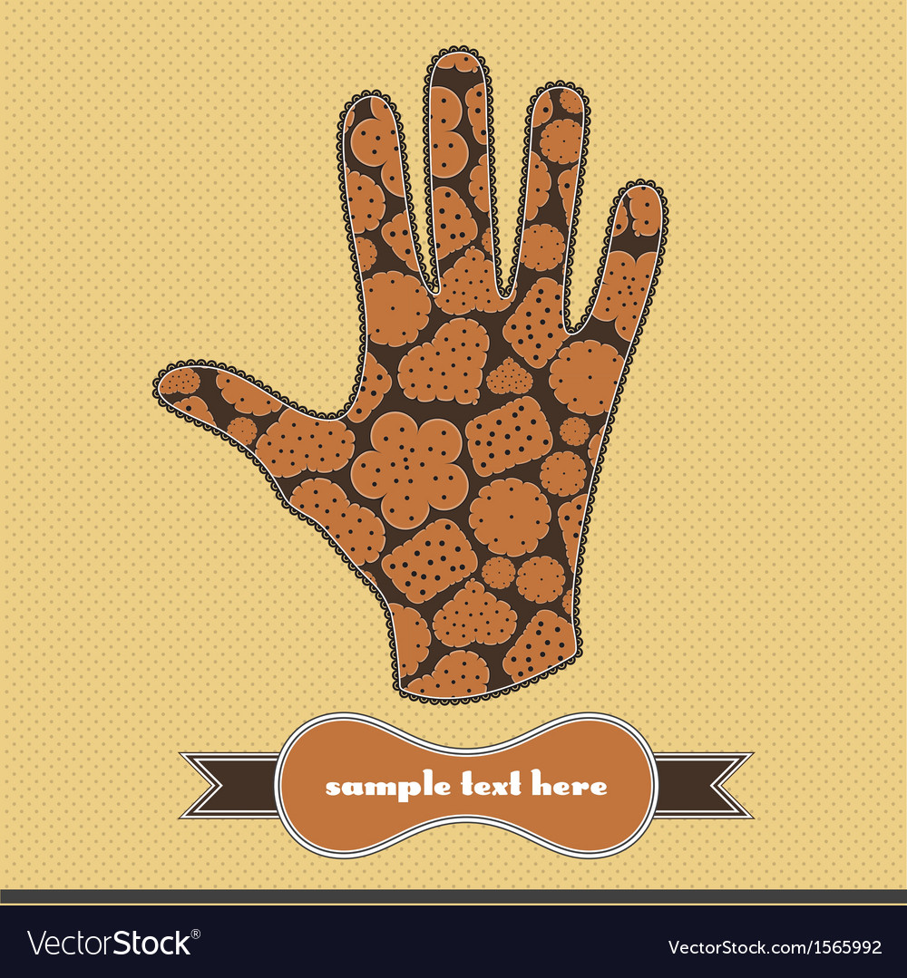 Composition with cookies on the handprint vector | Price: 1 Credit (USD $1)