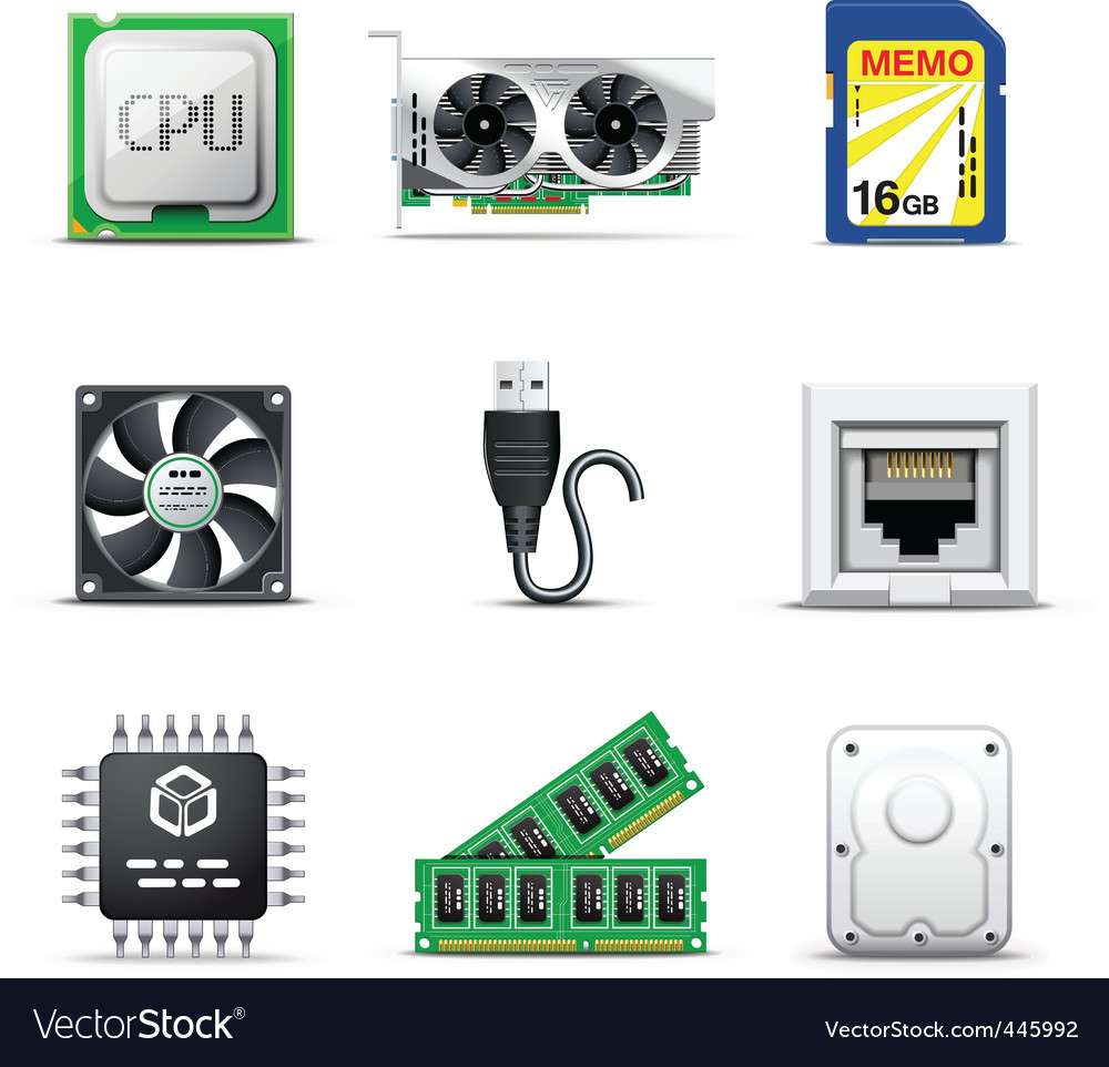 Computer parts 2 bella series vector