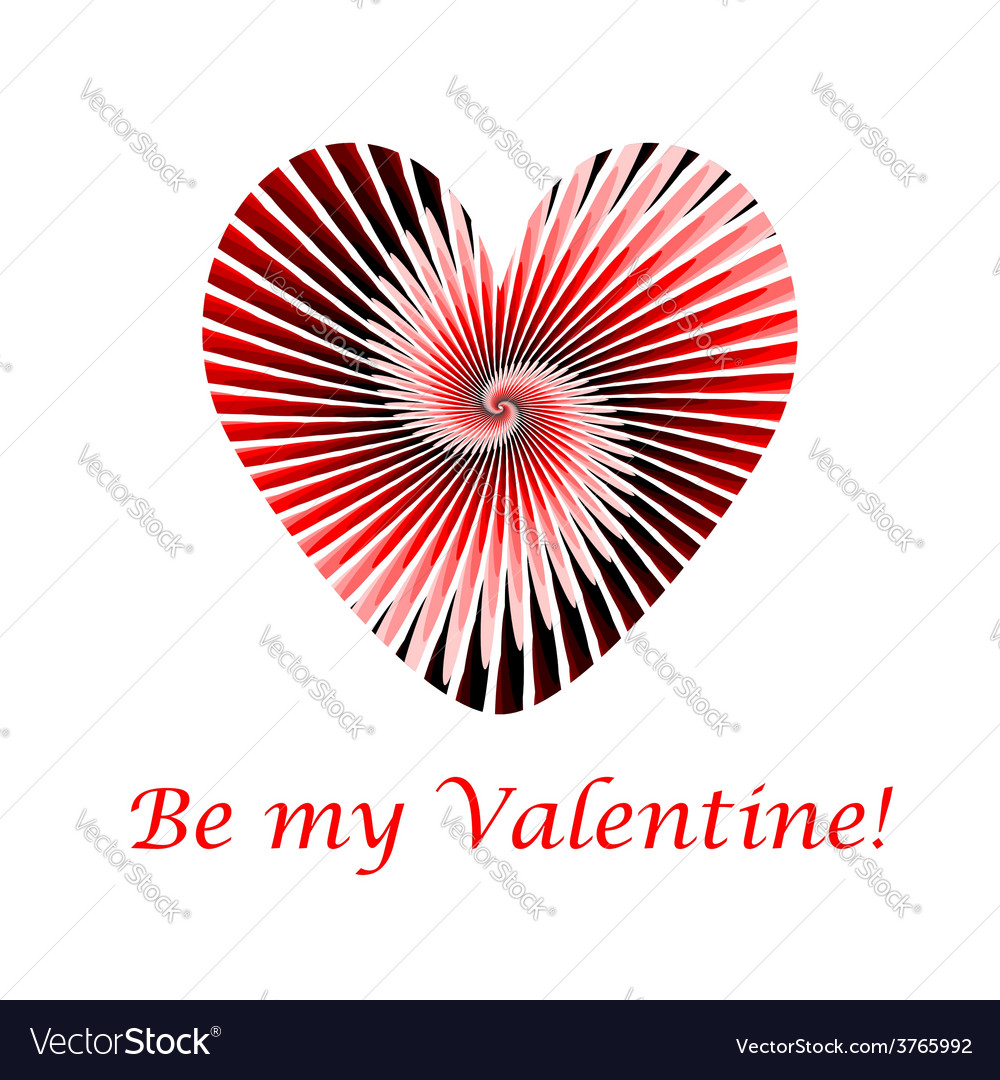 Design valentines day card with striped red heart vector | Price: 1 Credit (USD $1)