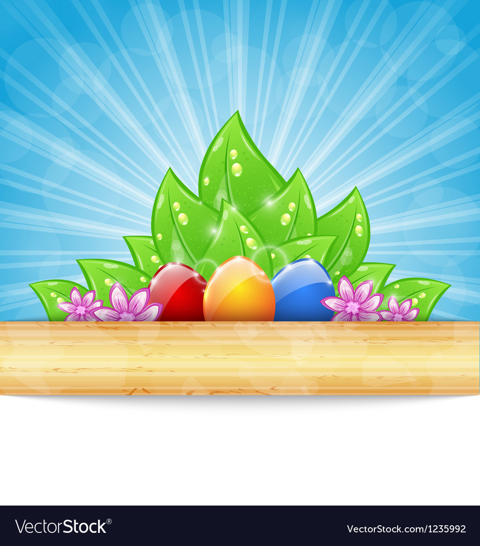 Easter background with colorful eggs leaves vector | Price: 1 Credit (USD $1)