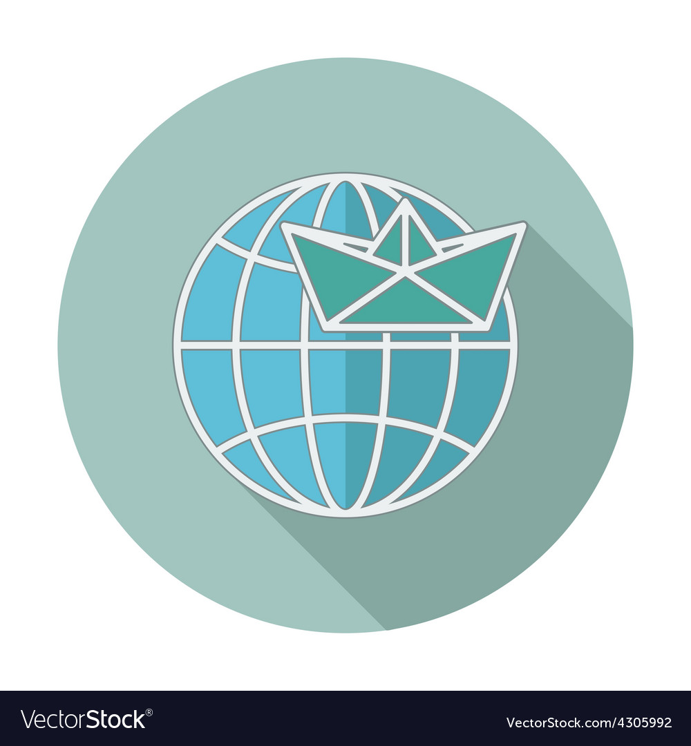 Flat icon with long shadow earth globe and ship vector | Price: 1 Credit (USD $1)