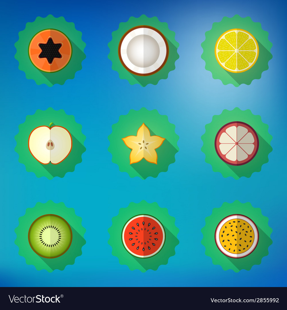 Fruit flat icon set include apple lemon papaya vector | Price: 1 Credit (USD $1)