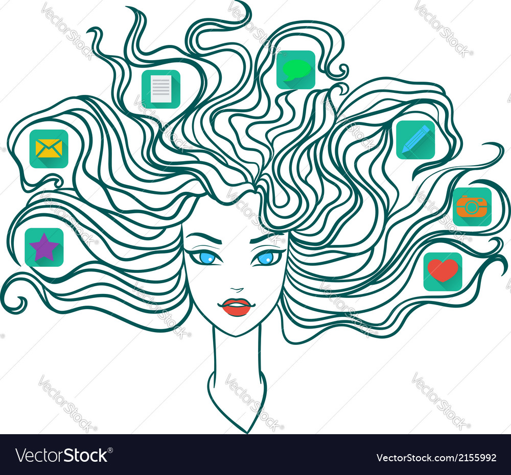 Girl with social media icons in hair vector | Price: 1 Credit (USD $1)