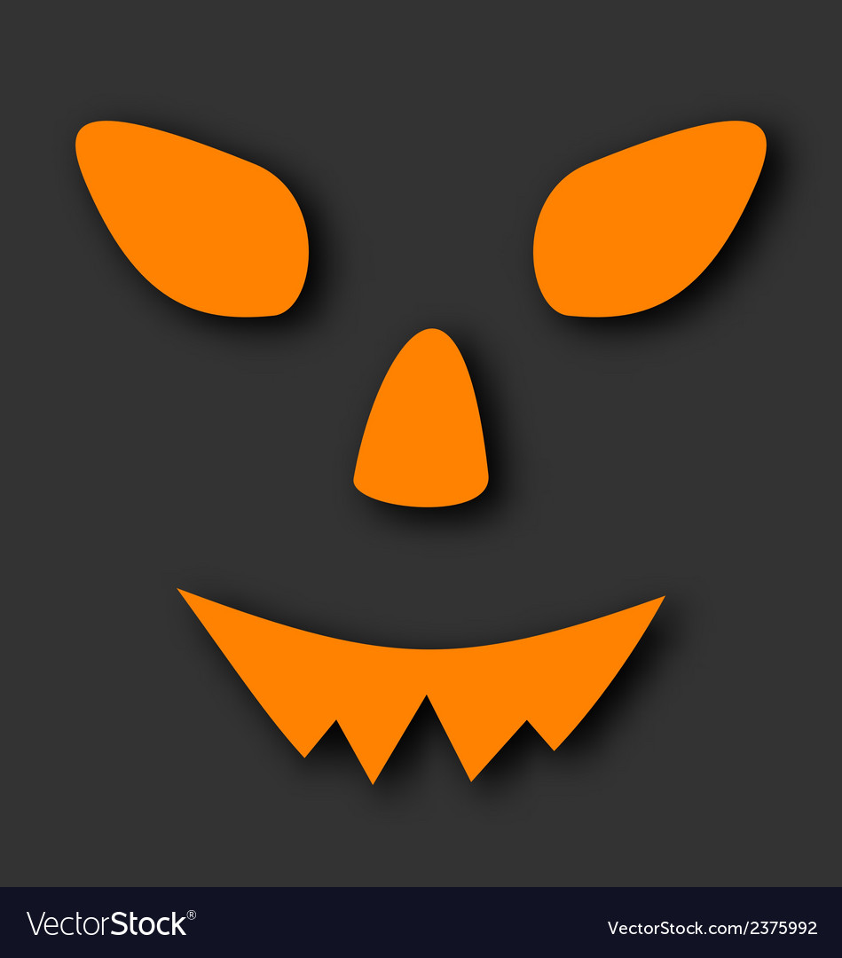 Jack o lantern pumpkin faces glowing on black vector | Price: 1 Credit (USD $1)