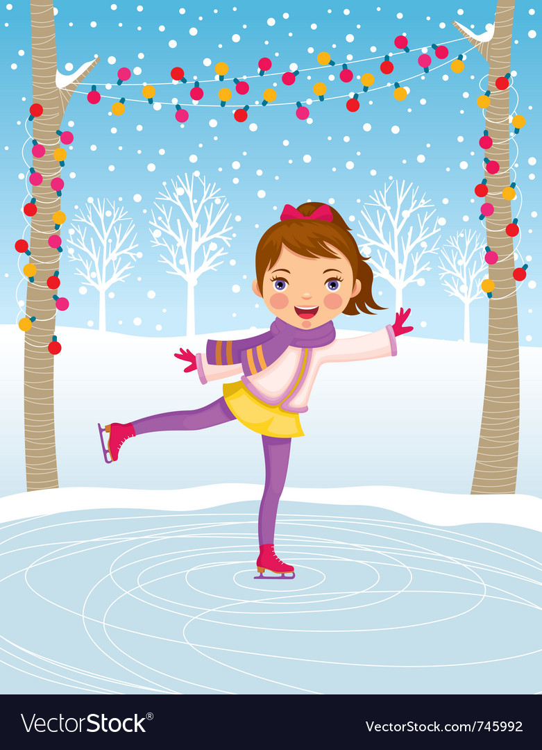 Little girl ice skating vector | Price: 3 Credit (USD $3)