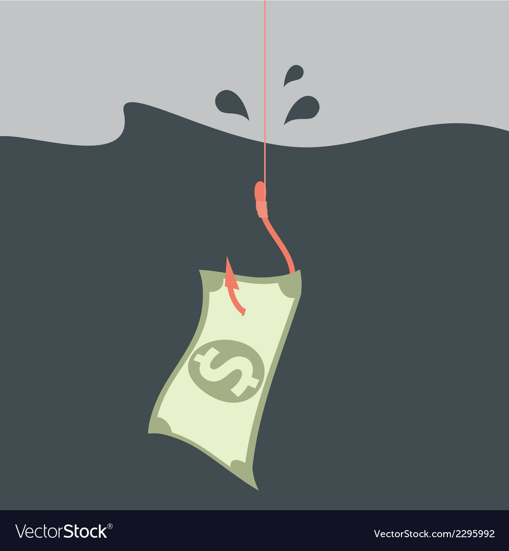 Money concept money on hook vector | Price: 1 Credit (USD $1)
