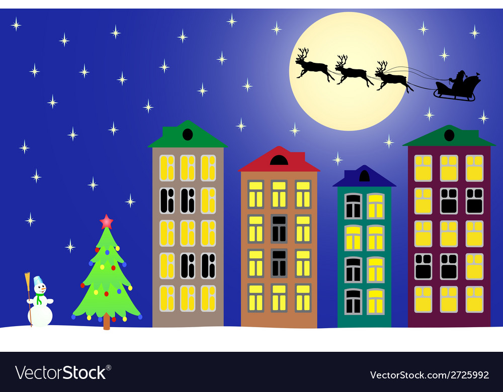 New year night in the town vector | Price: 1 Credit (USD $1)