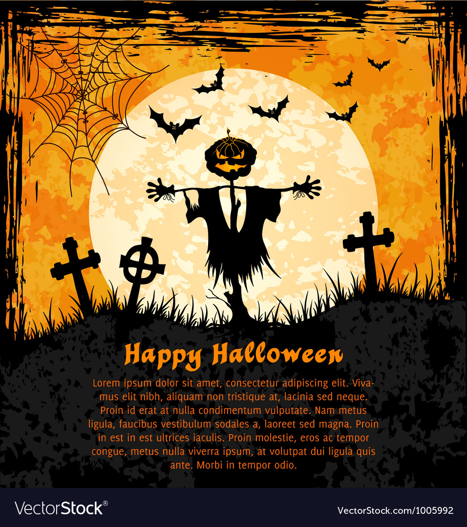 Orange grungy halloween background with scarecrow vector | Price: 1 Credit (USD $1)