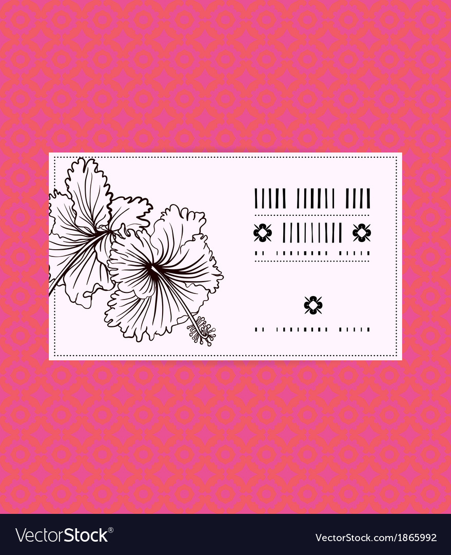 Vintage card with hibiscus flower vector | Price: 1 Credit (USD $1)