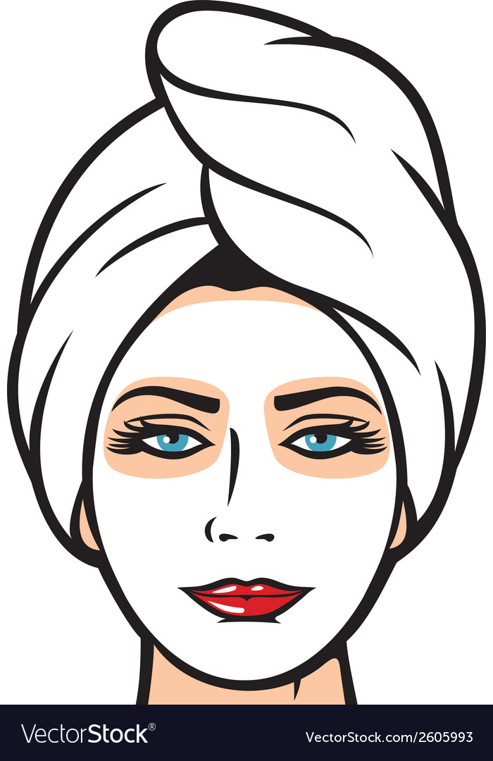Beautiful young woman getting facial mask vector | Price: 1 Credit (USD $1)