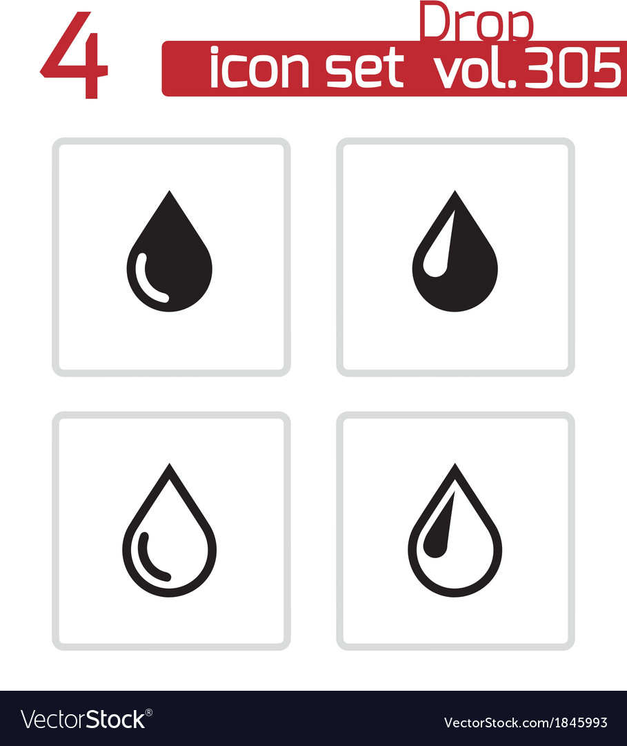 Black drop icons set vector | Price: 1 Credit (USD $1)
