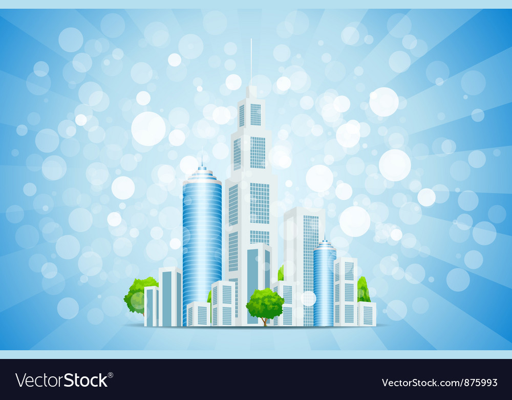 Blue background with business city and rays vector | Price: 1 Credit (USD $1)