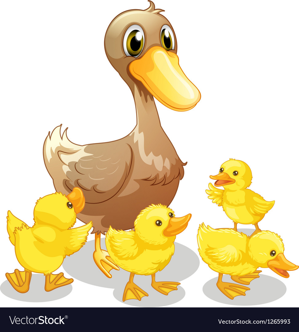 The brown duck and her four yellow ducklings vector | Price: 1 Credit (USD $1)
