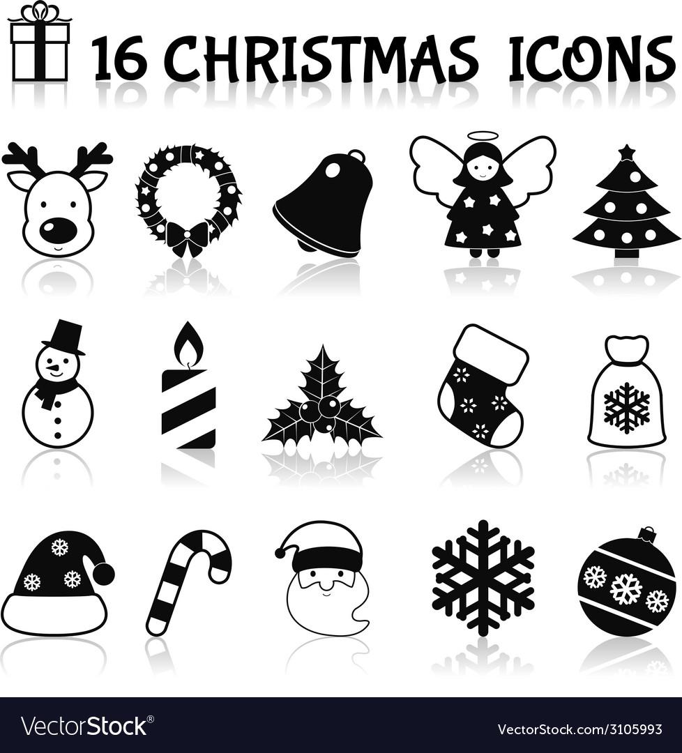 Christmas icons set black vector | Price: 1 Credit (USD $1)