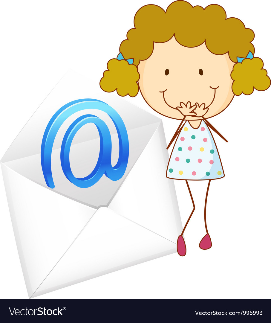 Girl with mail envelope vector | Price: 3 Credit (USD $3)