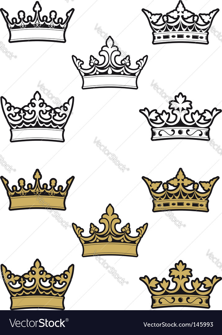Heraldic crowns vector | Price: 1 Credit (USD $1)