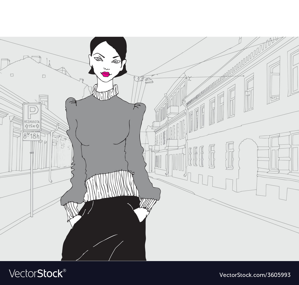 Lady in town grey vector | Price: 1 Credit (USD $1)