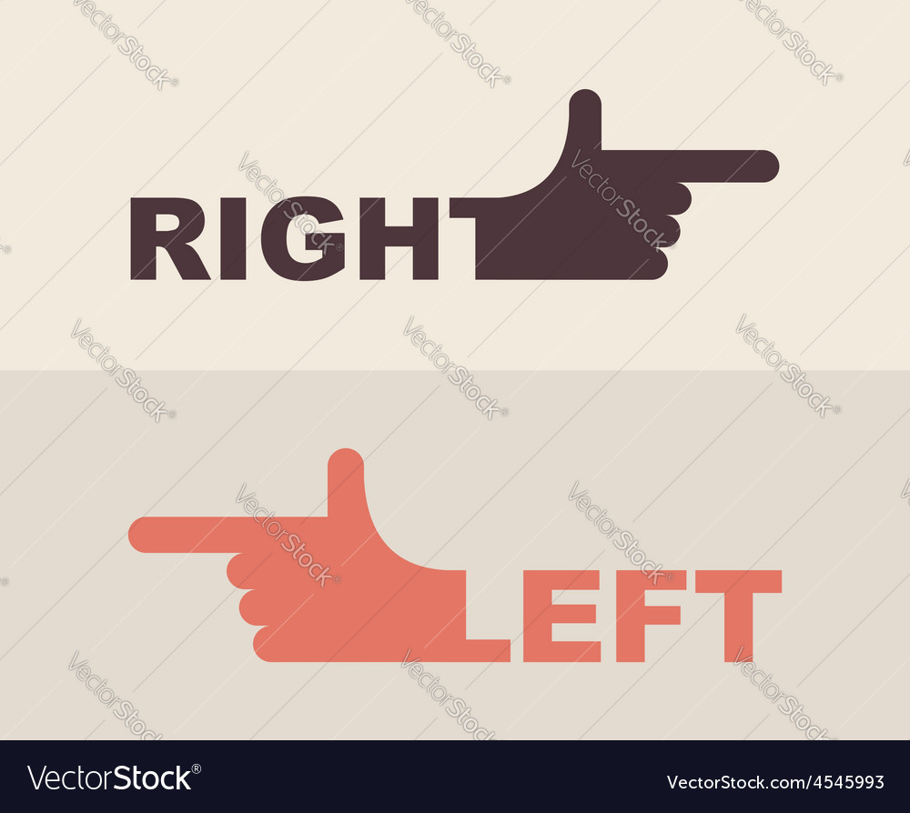 Logo hand shows direction of right hand left hand vector | Price: 1 Credit (USD $1)