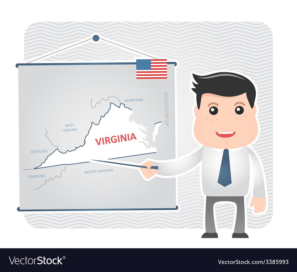 Man with a pointer points to a map of virginia vector | Price: 1 Credit (USD $1)