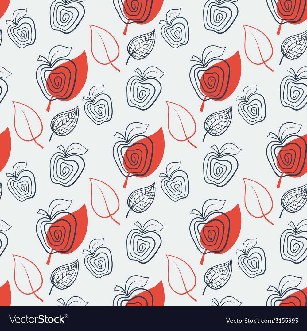 Seamless pattern with appleappleredleaf vector | Price: 1 Credit (USD $1)