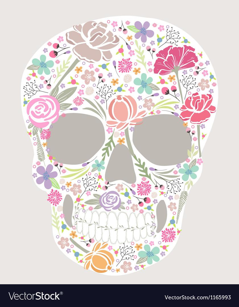 Skull from flowers vector
