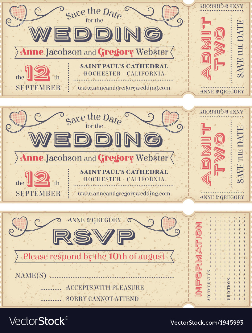 Wedding invite tickets vector