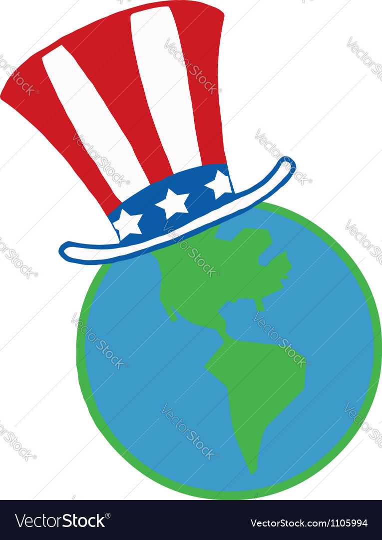 American hat on a globe vector | Price: 1 Credit (USD $1)