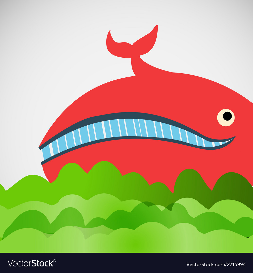 Colorful cheerful whale in the sea vector | Price: 1 Credit (USD $1)