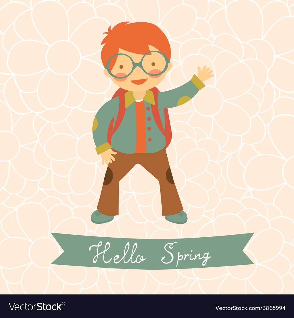 Hello spring card with cute little boy vector | Price: 1 Credit (USD $1)