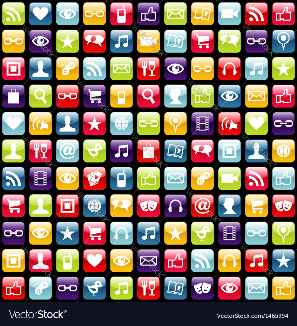 Mobile phone app icons pattern background vector | Price: 1 Credit (USD $1)