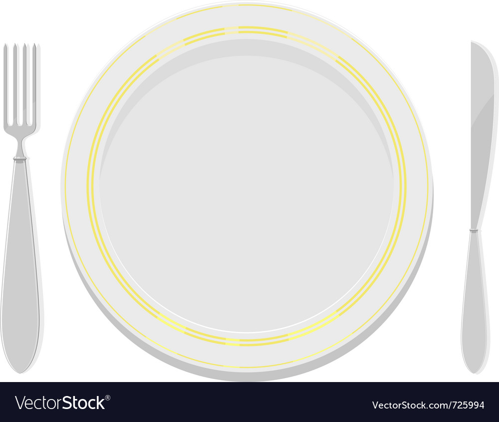 Plates with a gold rim with a fork and knife vector | Price: 1 Credit (USD $1)