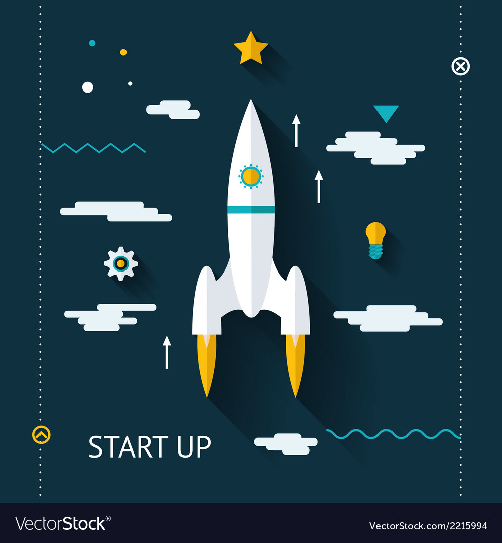 Retro flat design space launch start up concept vector | Price: 1 Credit (USD $1)