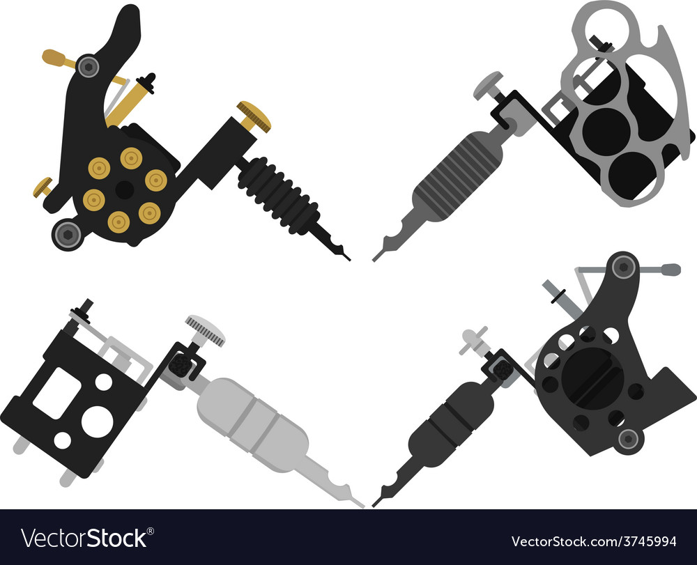 Set of 4 different style tattoo machines no vector | Price: 1 Credit (USD $1)