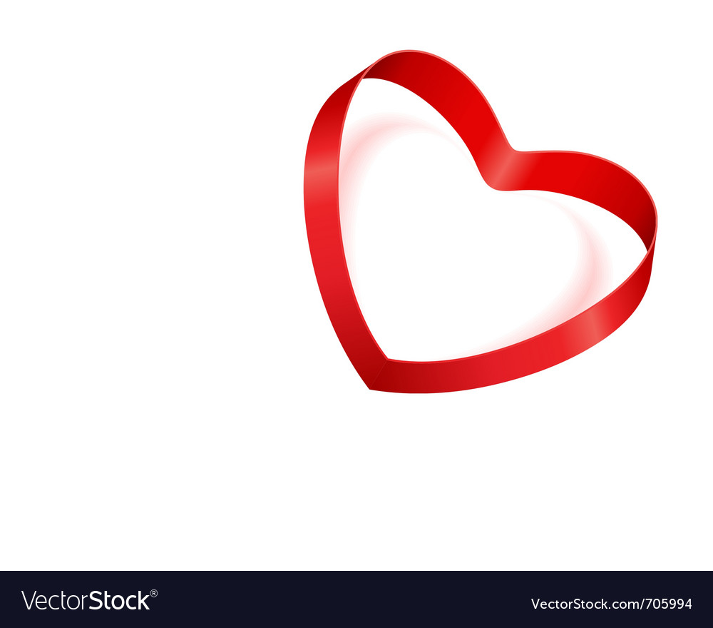 Valentines day heart from red silk ribbon vector | Price: 1 Credit (USD $1)