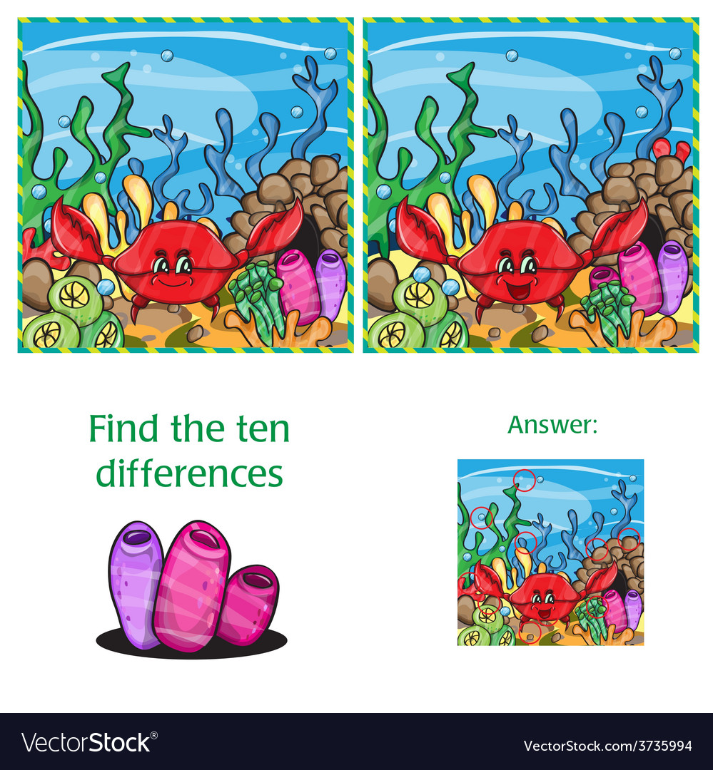 Visual game find 10 differences with answer vector | Price: 1 Credit (USD $1)
