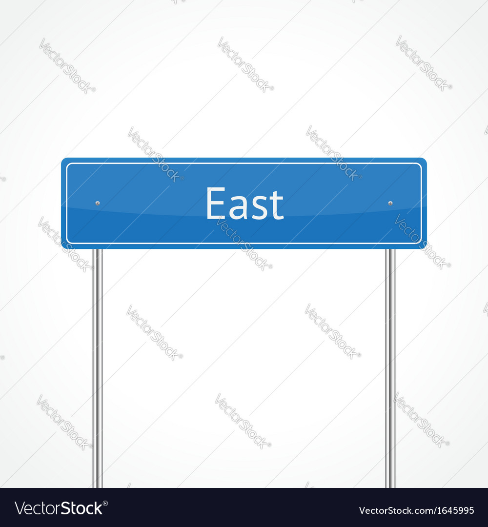 Blue east traffic sign vector | Price: 1 Credit (USD $1)