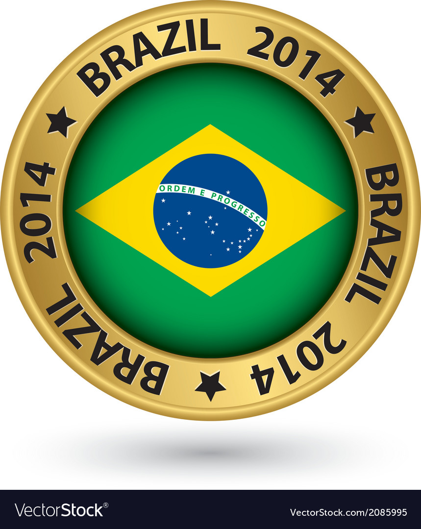 Brazil 2014 football world cup gold label vector | Price: 1 Credit (USD $1)