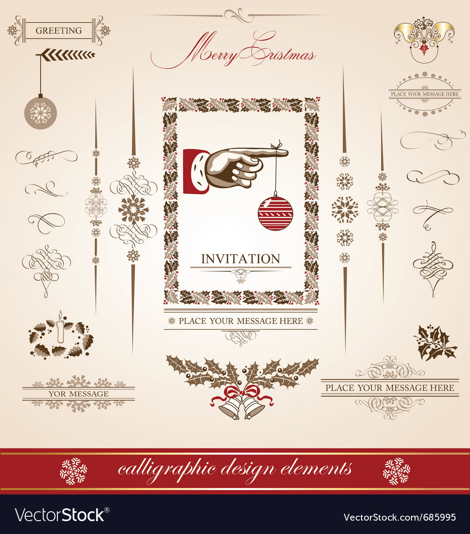 Christmas and new year set of calligraphic vector | Price: 1 Credit (USD $1)