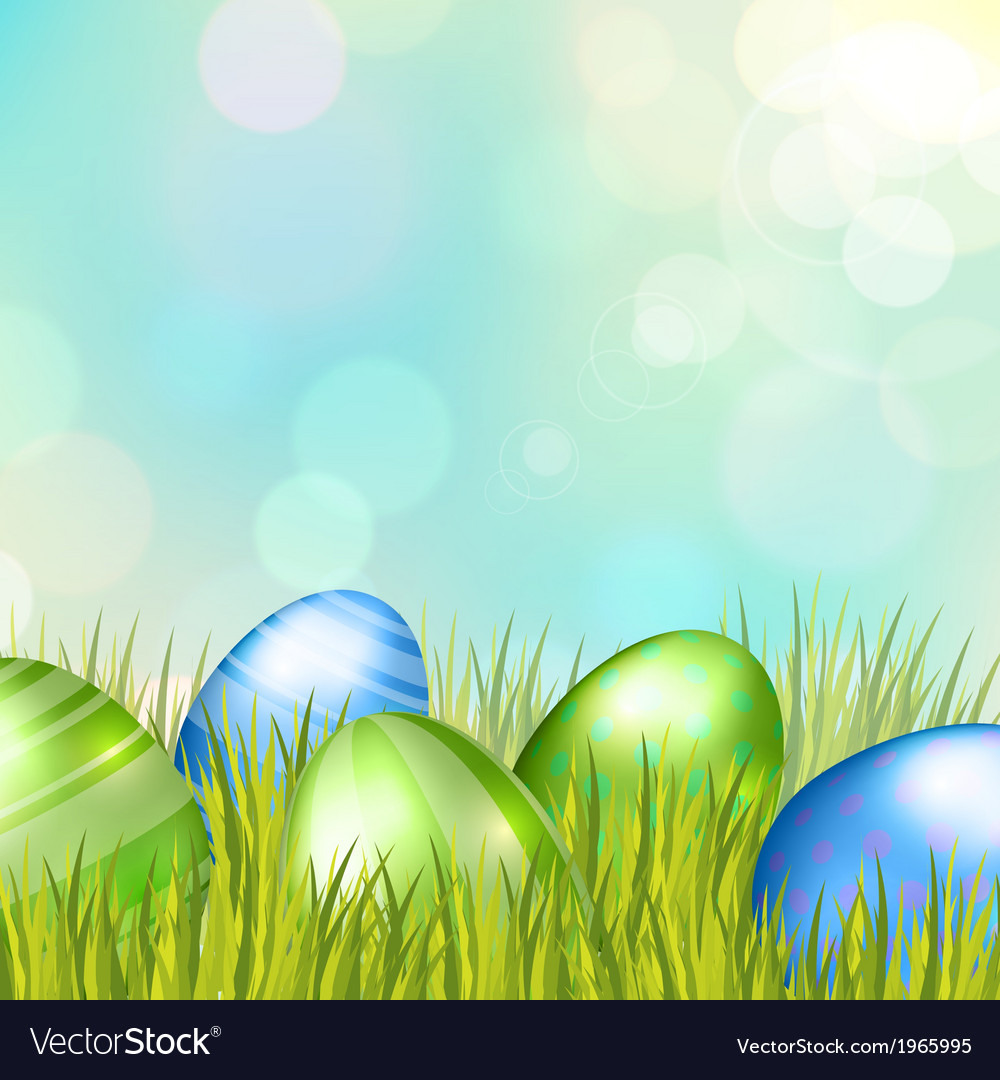 Easter bokeh background with eggs on meadow vector | Price: 1 Credit (USD $1)
