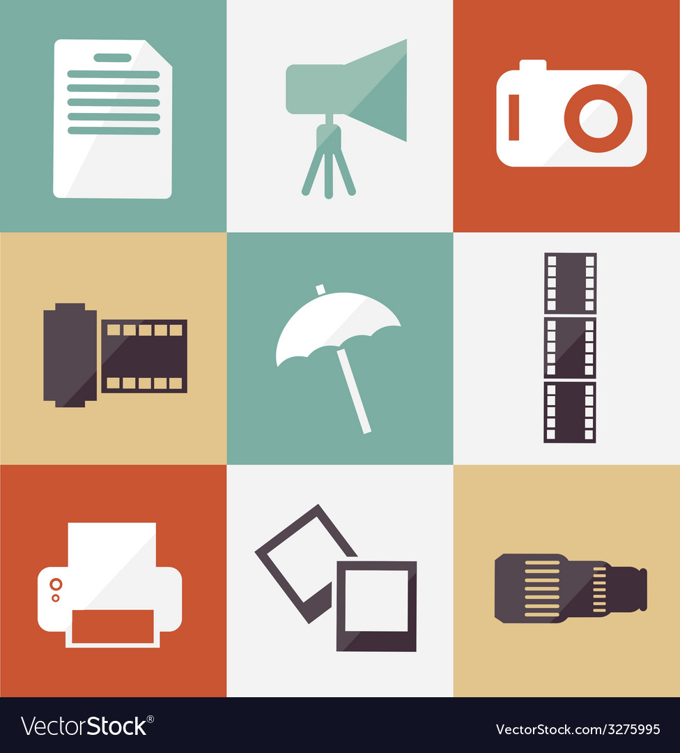 Icon set photographer vector | Price: 1 Credit (USD $1)