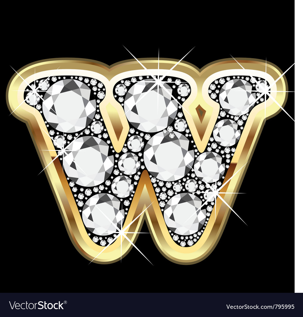 Letter wgold and diamond vector | Price: 1 Credit (USD $1)